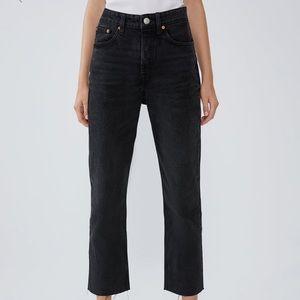 Zara straight leg cropped jeans
